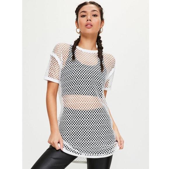 f2c96c57520 Forever 21 Dresses   Skirts - White Fishnet   Mesh Tshirt Dress